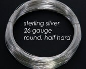 Sterling Silver Wire, 26ga 0.4mm - Round, Half Hard - 1 troy ounce oz