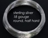 Sterling Silver Wire, 18ga 1.0mm - Round, Half Hard - 1 troy ounce oz