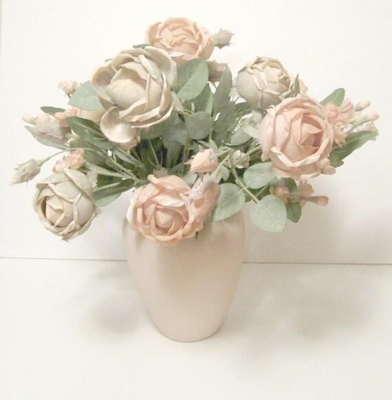 Peach & Green Silk Floral Arrangement in A Peach Vase