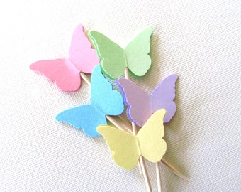 24 Pastel Butterfly Cupcake Toppers, Party Decor, Spring, Summer, Weddings, Showers, Birthdays