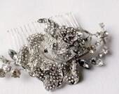 Crystal & pearl wedding hair comb. Vintage inspired crystal rose hair comb. Wedding jewelry. Silver bridal hair piece. Vintage style wedding