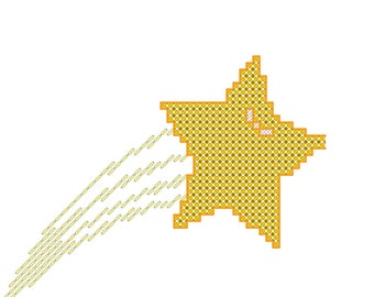 "Shooting Star Cross Stitch Pattern for 4"" Hoop"