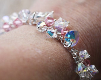 Bridal Wedding Swarovski Crystal Bridal Sterling Silver Bracelet