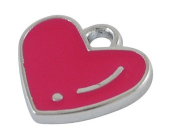4 Silver Metal Enamel HOT PINK HEART Charms or Pendants che0044