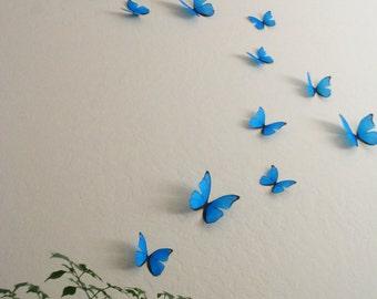3D Cyan Wall Butterflies- Set of 20