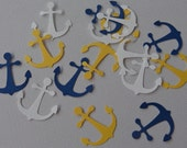 100 Nautical Anchor paper punches White Blue Yellow Embellishments Die Cuts - SewPrettyInVermont