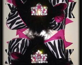 Hot pink and zebra crown pigtail bows