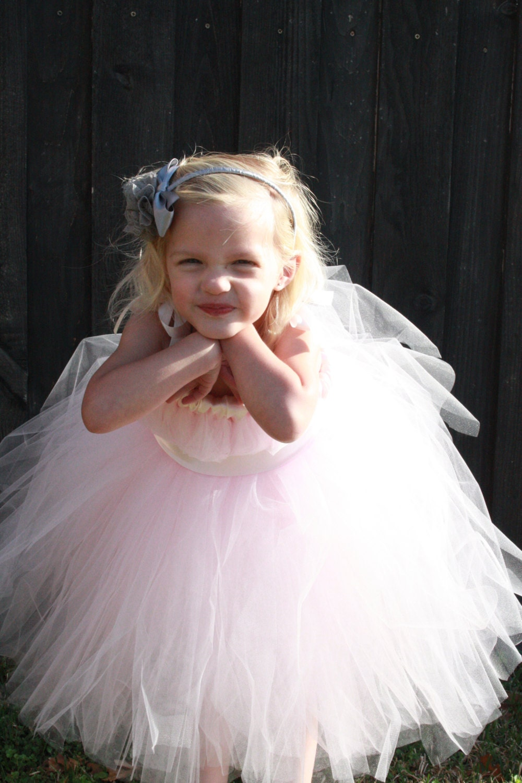 blush pale pink tutu dress flower girl dress