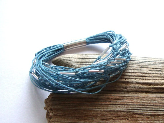 Linen multistrand bracelet, blue bracelet , robin egg, eco style fashion, modern jewelry