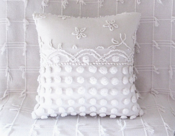 chenille pillow cover 16 X 16 WHITE POP STARS cushion cover shabby chic cottage style