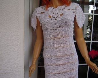 Handmade crochet romantic dress/lace sweater in white silk ready to ship gift for her size M/L gift idea by golden yarn