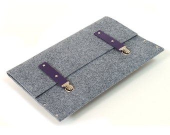 MacBook 13 Air Sleeve Case Cover grey synthetic felt violet leather briefcase cover handmade by SleeWay