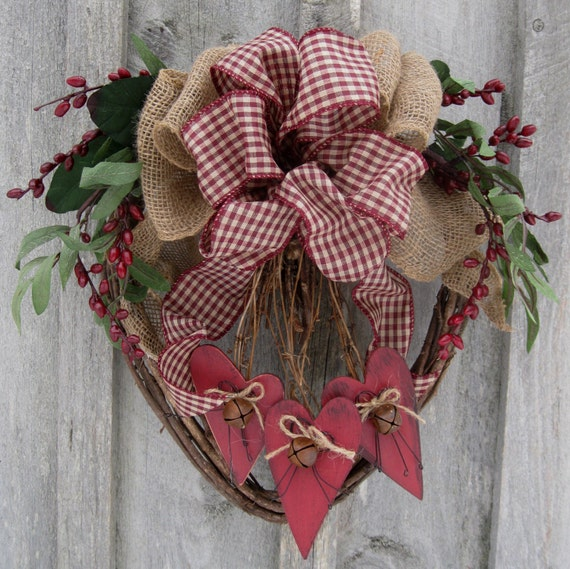Heart Wreath Country Cottage Primitive Plaid Burlap Bow