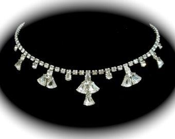 Vintage Rhinestone Bib Demi Choker Earrings