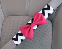 Seat Belt Cover Bow, Custom Seatbelt Cover with Bow, Black Chevron Belt Cover Bow, Soft Seat belt cover bow, animal print, chevron BF11107