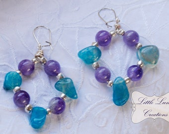Amethyst and Blue Stone Gypsy Earrings ON SALE