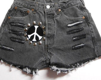 27 inch waist........Vintage LEVIS  501 Denim Shorts -Studded  Peace Sign  Shorts