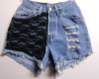 23 inch waist........High Waisted Levis  denim shorts -----Black Lace