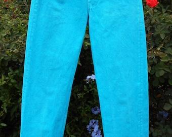 Vintage 80's  Levis  Turquoise Denim Jeans Waist 26 inches