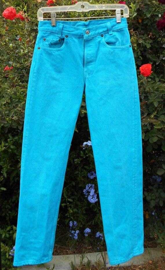 Vintage 80 S Levis Turquoise Denim Jeans Waist 26 Inches