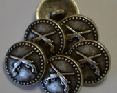 "Crossed pistol Western style buttons, metal, antique silver finish, 5/8"", new, Made in Italy"