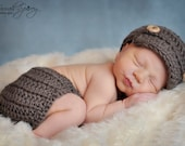 READY TO SHIP Newborn Newsboy Crochet Hat and Diaper Cover Taupe