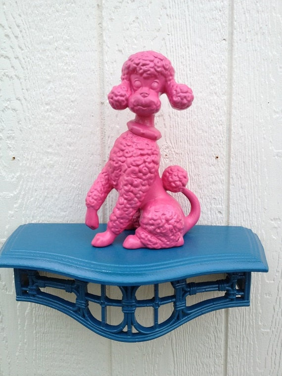 Upcycled Pink Ceramic Poodle, Poodle Figurine, Poodle Dogs, Poodle Home Decor-Gifts