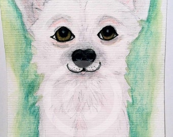 "White Chihuahua Dog 4"" x 6"" Original Animal Watercolor Art Card"