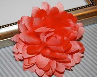 Coral Fabric flower   - 4''  large silk fabric flower - flat back  Dahlia Silk Flower -coral corsage flowers wedding hair headband flowers