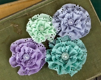 """Fabric Flowers Pageant Blue Pastel 567149  Eyelet lace fabric flowers  1.75"""" - 3""""  (4 pcs) applique flowers floral embellishment hair hat"""