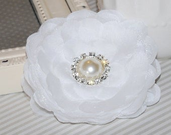 White  3 1/2'' camellia fabric  flower  wedding silk flowers with pearl and diamond rhinestone center