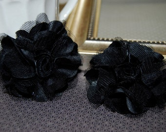Black  Flowers - Small 2.5''  Satin mesh  fabric flowers (2 pcs) - use for hair flower shoe clip flower headband flowers bridal wedding