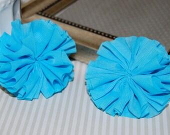 "Set of 2 Chiffon ballerina Double Ruffle Unfinished Flowers  2.5"" Turquoise Blue chiffon twirl pleated tutu fabric flower shoe hair headband"