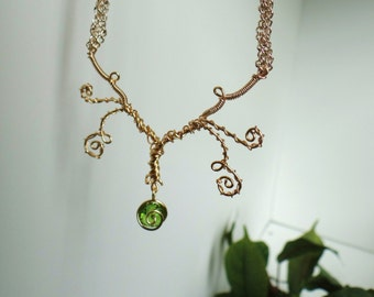 The Great Deku Tree Inspired Necklace with Dangling Kokiri's Emerald