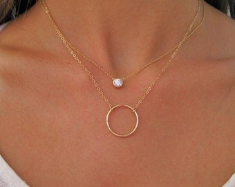 Solitaire Necklace - Diamond Solitaire Necklace - Floating Diamond - Diamond Necklace