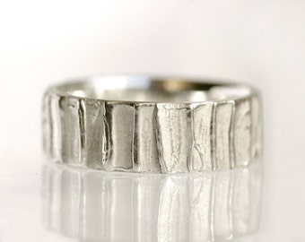 Men's wedding band, 14k white gold wedding ring, rugged band - Tree Bark No.7