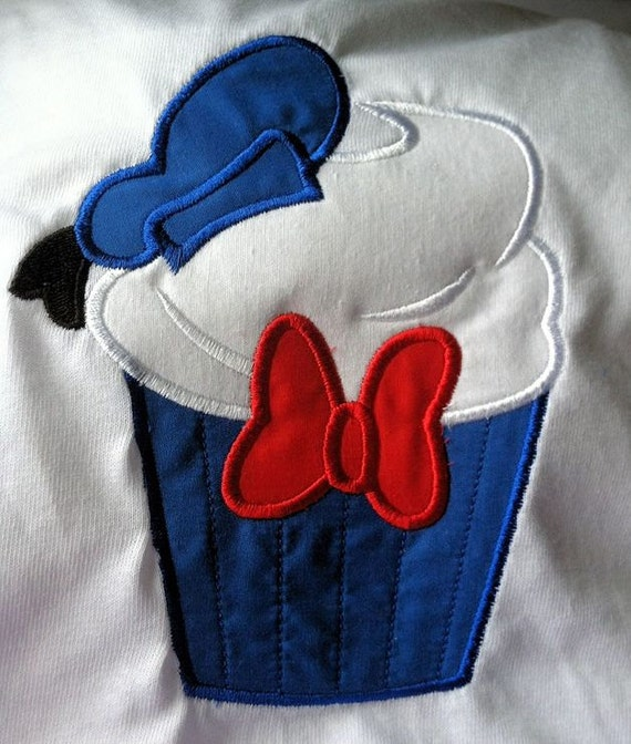 Custom donald duck birthday cupcake applique adult shirt for Applique shirts for sale