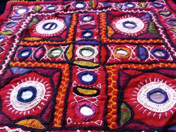 Red Banjara Indian embroidery patch piece
