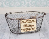 "Wedding ""Bubbles"" Sign WITH WIRE BASKET  for Your Rustic, Country, Shabby Chic Wedding or Special Occasion"