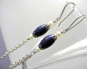 Long Lapis Lazuli earrings gemstone birthstone, drop dangle earrings, chain cluster white genuine pearls, blue bridal wedding, silver plated