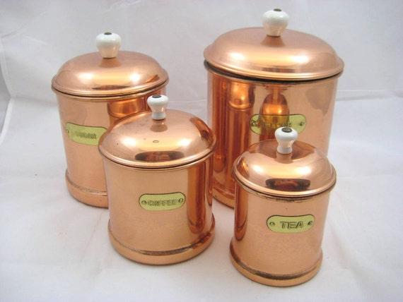 Vintage Nesting Copper Canister Set Flour Sugar By