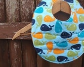 Baby Bib for Boy - Reversible and Washable - Blue, Orange and Green Whale Print with Orange Stripe