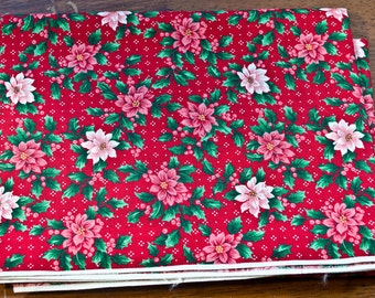 Holiday Fabric, Holly flowers and Berries, 1 yard