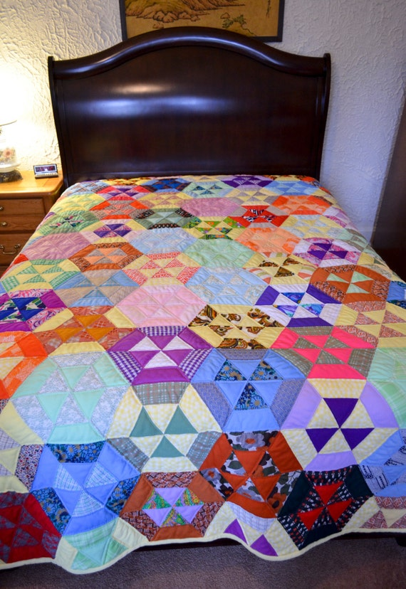 RESERVED for Becky:  Colorful Patchwork Quilt
