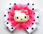 Huge Hot Pink Kitty Polka Dot Bow