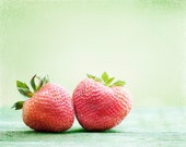 """Fruit Photography - strawberries red light green kitchen decor food photo strawberry wall art print mint - 8x10 Photograph, """"Berry-licious"""""""