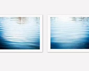Water Print Set - 2 two blue photographs ocean ripples abstract beach wall art photo set coastal photography nautical decor calming artwork