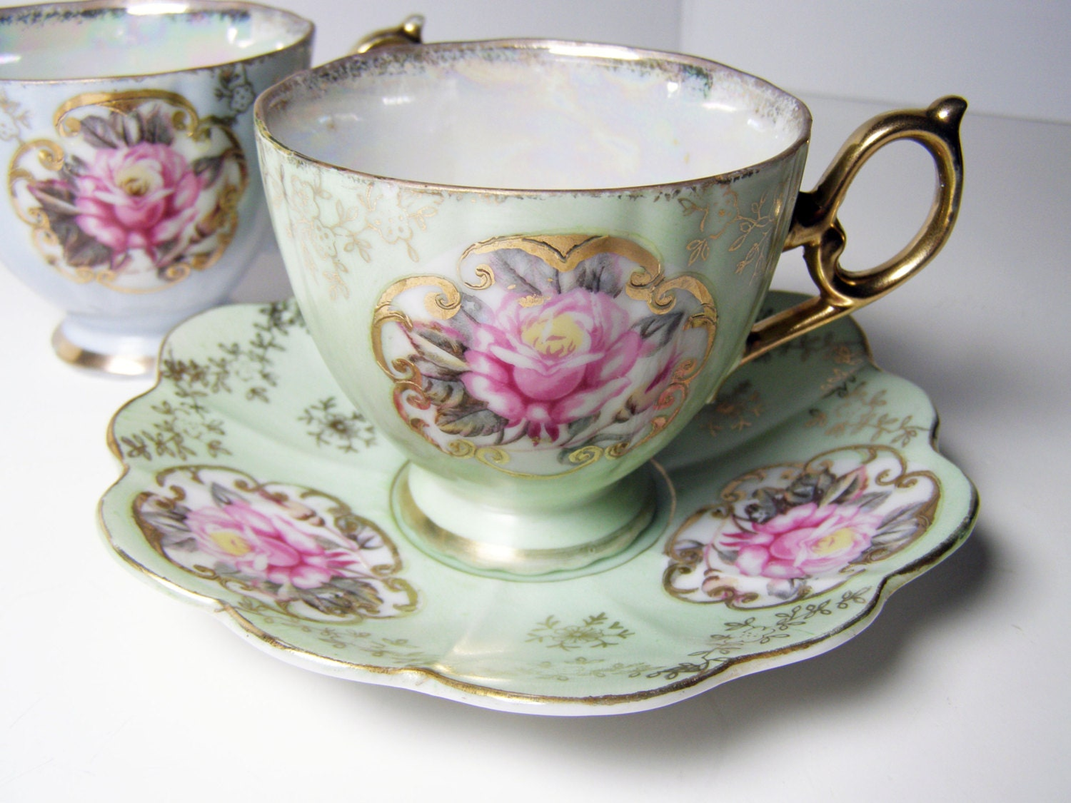 Vintage Pair Of Tea Cups And Saucers Tea For Two By