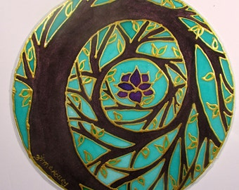 Tree spiral Mandala art,spiritual gift, tree mandala, Tree of Enlightenment, mandala art, tree of life art, silk art, meditation art,wiccan