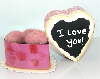 Metal Gift Heart Box -Three Needle Felted Hearts-You Personalize With Chalk Marker